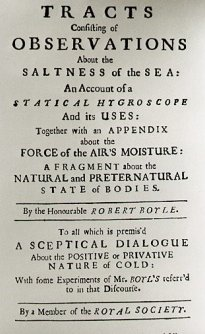 """Title page of Robert Boyle's book on the """"Saltness of the Sea"""","""